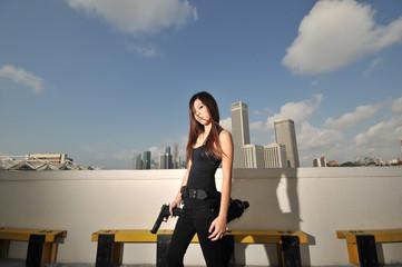 Asian female girl with killer instinct