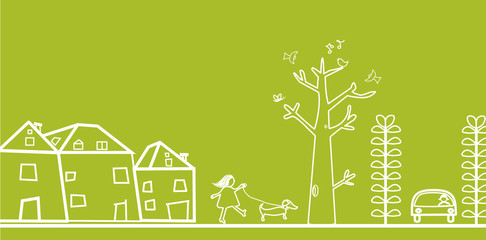 green banner with houses and trees