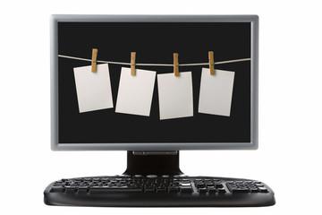 computer tft monitir and keyboard
