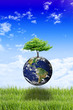 save the planet image composition with the earth and a tree grow