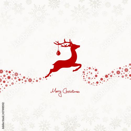 Flying Reindeer, Christmas Ball & Snowflakes