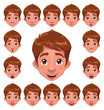 Boy Expressions with lip sync. Vector character.