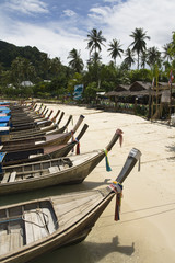 Long Tail Boats along Beach