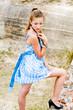 Fashion girl urbex location blue polka dress