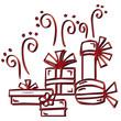 Illustration de Noël cadeaux rouge reflets