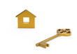 Gold key and little toy house