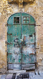 Old green fringed door poster