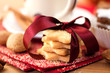 Pile of delicious christmas biscuits tied with satin ribbon