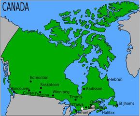 Carte des Villes Principales du Canada