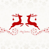 2 Flying Reindeers, Christmas Ball & Snowflakes