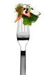 Lachsfilet mit Brokkoli und Sahnesoße auf Gabel, isoliert