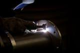 Precision steel welding. poster