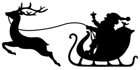 Christmas Sleigh Santa & Reindeer