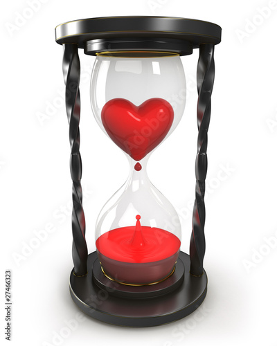Hourglass with heart and blood