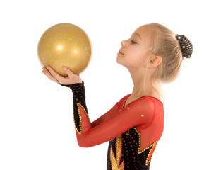 girl gymnast with a ball