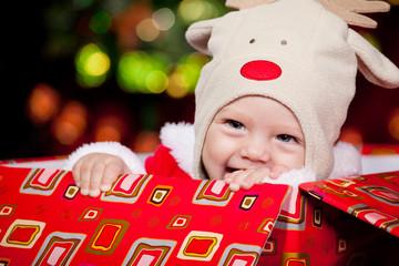 Baby in deer hat