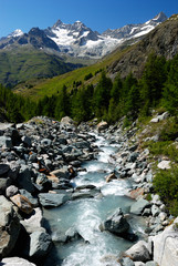 river in alpes mountain