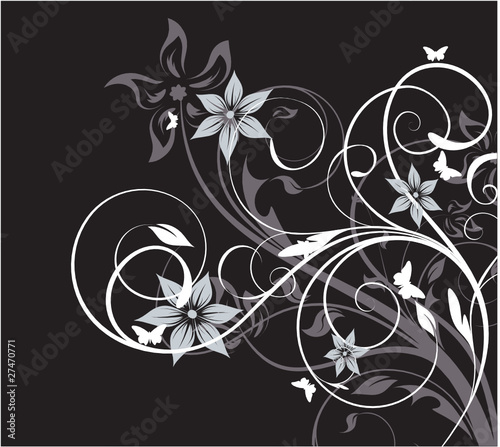 floral abstraction on black background