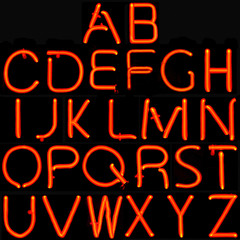 Full Neon Latin Alphabet