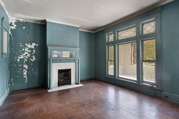 Living room in old abandoned home