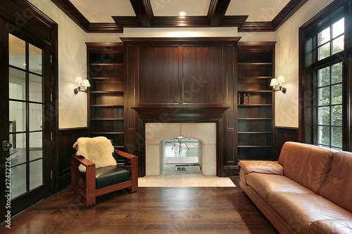 Library with marble fireplace