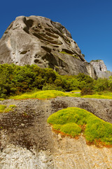 Landscape with a mountain cliff. Mountains of Meteora, Greece.