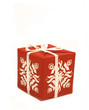 Red patterned gift on white background