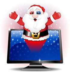 Babbo Natale 3D Monitor-3D Santa Claus TV or PC Screen-Vector