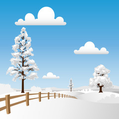 Winter Landscape with Snow and Fence