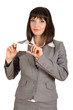 business woman with white card in hand