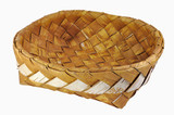 Empty braided birch-bark bread box