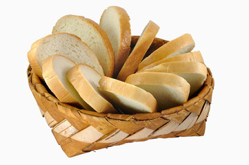 Braided birch-bark bread box with white bread