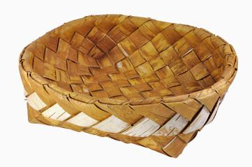 Empty braided birch-bark bread box