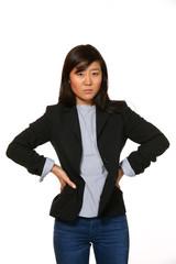 donna asiatica su sfondo bianco