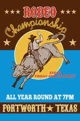 Rodeo Cowboy bull riding poster