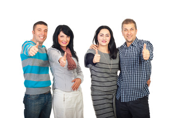 Two couples giving thumbs