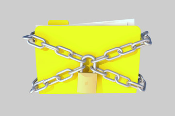 folder with lock and chains, grey background for easy cut