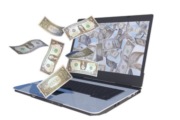 laptop computer with dollar bills flying out screen