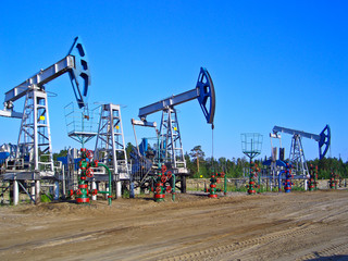 Oil pumps in Surgut, Russia. Oil industry equipment