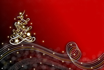 Weihnachtskarte mit Tannenbaum, rot