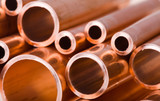 Copper pipes of different diameter poster