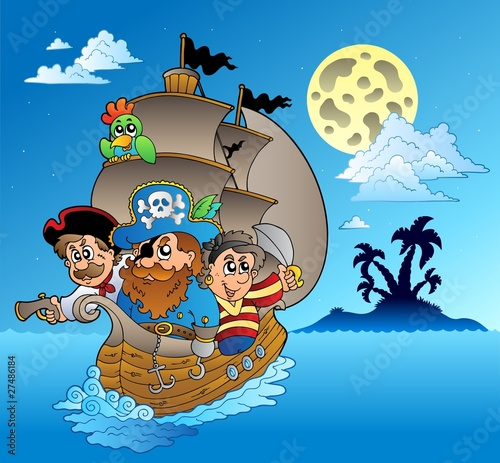 Deurstickers Piraten Three pirates and island silhouette