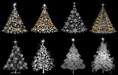 Set alberi argento oro e luci