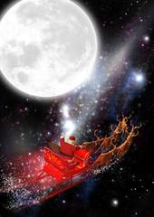 Weihnachtsmann mit Rentierschlitten im Weltraum