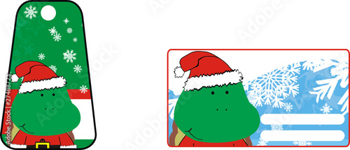 turtle cartoon xmas sticker