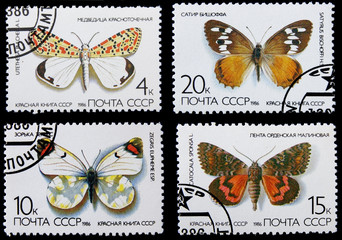post stamps with butterflies from The Red Book