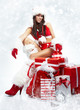 attractive young christmas women with the gift