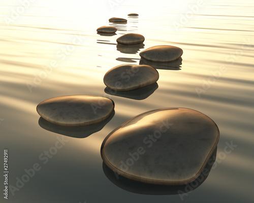 Leinwandbilder,golden,frieden,meer,steine