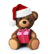 Teddy bear with santa hat and present box
