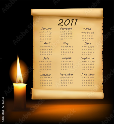 Old paper with calendar 2011. Vector.